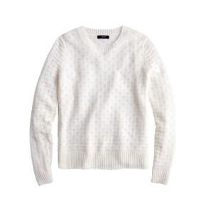 J. Crew Pointelle Crewneck Sweater Ivory Large